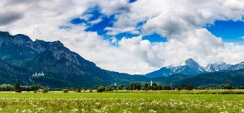 Beautiful natural landscape of the Alps. Forggensee and Schwanga. U, Germany, Bavaria Stock Photography