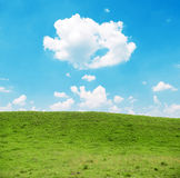 Beautiful natural landscape of meadow and blue sky Royalty Free Stock Photography