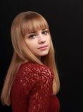 Beautiful natural makeup teenager girl looking stock image