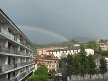 Beautiful Natural Rainbow view. In mountains of san sebastian spain Royalty Free Stock Images