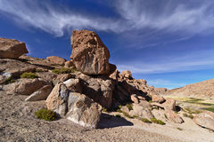 Beautiful natural rock formation under a awesome sky. Beautiful natural rock formation with big loose balanced stone under a awesome sky Stock Photos