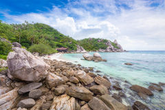 Beautiful natural rock stone on the tropical beach at Freedom be. Ach, Koh Tao in Thailand royalty free stock photography