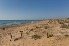 Beautiful Natural Sandy Beach And Sand Dunes Near Guardamar De Segura Stock Photography