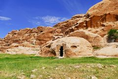 Sandstone Hills and Rock-Cut Structure in Little Petra, Jordan. Beautiful Natural Scenery Scenic View Sandstone Hills and Rock-Cut Structure in Little Petra royalty free stock photo