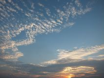 Beautiful sky in the evening, floating clouds, cool white When the sun is going to hide the horizon. Beautiful natural skies, floating clouds In the morning royalty free stock photography
