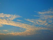 Beautiful sky in the evening, floating clouds, cool white When the sun is going to hide the horizon. Beautiful natural skies, floating clouds In the morning royalty free stock image