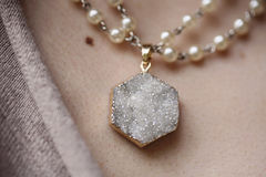 Beautiful natural stone pendant stock photo