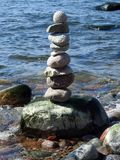 Beautiful natural stones tower on Baltic sea coast, Lithuania. Beautiful natural stones tower on baltic sea, can use as background royalty free stock images