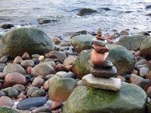 Beautiful natural stones tower on Baltic sea coast, Lithuania. Nice natural stones tower on Baltic sea coast royalty free stock photos