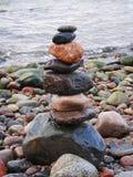 Beautiful natural stones tower on Baltic sea coast, Lithuania. Nice natural stones tower on Baltic sea coast stock photography