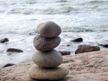 Beautiful natural stones tower, Lithuania. Nice natural stones tower on Baltic sea coast royalty free stock photos