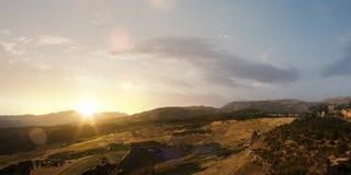 Beautifu summer sunset landscape. Beautiful natural summer sunset landscape top view stock photography