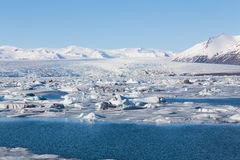 Beautiful natural of winter lake during late winter, Iceland Stock Image