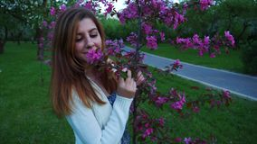 Beautiful natural woman in a blooming apple orchard, smelling the flower. stock video footage