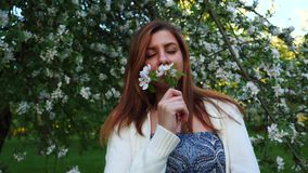 Beautiful natural woman in a blooming apple orchard, smelling the flower. stock video