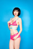 Beautiful natural woman in colored lingerie Royalty Free Stock Photo