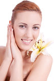 Beautiful natural woman face with flower isolated Royalty Free Stock Photos