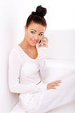Beautiful Natural Woman On Mobile Phone Royalty Free Stock Photography