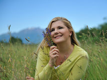 Beautiful Natural Woman Outdoors In A Field Royalty Free Stock Photo