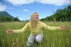 Beautiful Natural Woman Outdoors On A Field Royalty Free Stock Photos