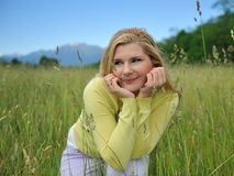 Beautiful natural woman with pure skin outdoors Royalty Free Stock Images