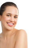 Beautiful Natural Woman. Beautiful smiling young natural woman with smooth glowing skin Royalty Free Stock Photos