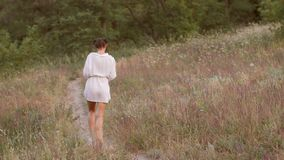 Beautiful woman walking outdoors on nature stock video footage