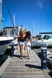 Beautiful natural Women Girls On Sailing Yacht Royalty Free Stock Photo