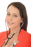 Beautiful Natural Young Female Doctor With a Stethoscope Stock Image