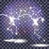 Beautiful Naturalistic Lightning with Transparency Royalty Free Stock Photography