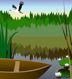 Beautiful nature. The image of a flying crane and the beautiful nature on lake stock illustration