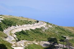 Panoramic view to Ionian Sea blue water and top of Llogara Mountain. Beautiful nature of Albania Royalty Free Stock Images