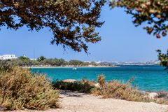 Beautiful nature of Antiparos island of Greece with crystal blue water and amazing views.  royalty free stock image