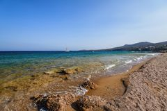 Beautiful nature of Antiparos island of Greece with crystal blue water and amazing views.  stock photography