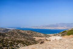 Beautiful nature of Antiparos island of Greece with crystal blue water and amazing views.  stock image