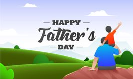 Beautiful nature background with back view of son sitting on his father shoulders for Happy Father`s Day. Beautiful nature background with back view of son royalty free illustration
