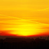 Beautiful nature background - red sunset, bright sun. Scenic vie Stock Photography