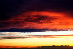 Beautiful nature background - red sunset, bright sun Royalty Free Stock Images