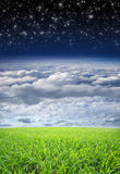 A beautiful nature background with sky and grass. A beautiful sunny nature background with the deep blue sky, white clouds and green grass. The upper sky is Stock Photos