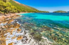 Beautiful nature at beach Platja de Formentor on Mallorca. Island scenery, beautiful seaside beach of Platja de Formentor on Majorca island, Spain Royalty Free Stock Photo