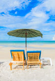 Beautiful nature. Bed on the beautiful beach on the bluesky in Thailand Royalty Free Stock Photography