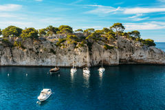 Beautiful nature of Calanques on the azure coast of France. Yach Stock Photo