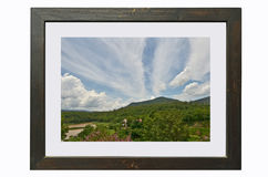 Beautiful nature of clouds over the forest and mountain Royalty Free Stock Image