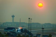 Beautiful Nature Egg Yolk Sunrise with colourful sky environment Royalty Free Stock Image
