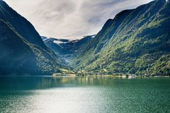 Eidfjord in Norway. Beautiful nature and Eidfjord in Norway Stock Images