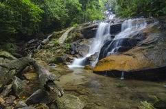 Beautiful in nature Kanching Waterfall located in Malaysia, amazing cascading tropical waterfall Royalty Free Stock Photos