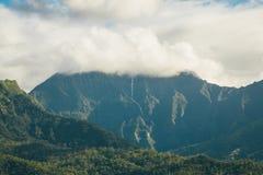 Beautiful nature on the Kauai island Hawaii, USA. Beautiful nature on the Kauai island, Hawaii, USA. Panoramic view on mountains, rivers, fields and waterfalls royalty free stock photography