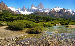 Beautiful nature landscape in Argentina. Beautiful nature landscape with Mt Fitz Roy as seen in Los Glaciares National Park, Patagonia, Argentina royalty free stock image
