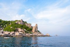 Buddha Point at cape in Ko Tao island. Beautiful nature landscape group exotic rock of Buddha Point at cape near John-Suwan viewpoint under the blue sky on the stock photos