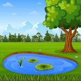 Beautiful nature landscape with mountains and water pond. Illustration of Beautiful nature landscape with mountains and water pond Royalty Free Stock Photos